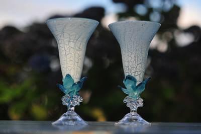 Kunstglass - Turkis sjøblad
